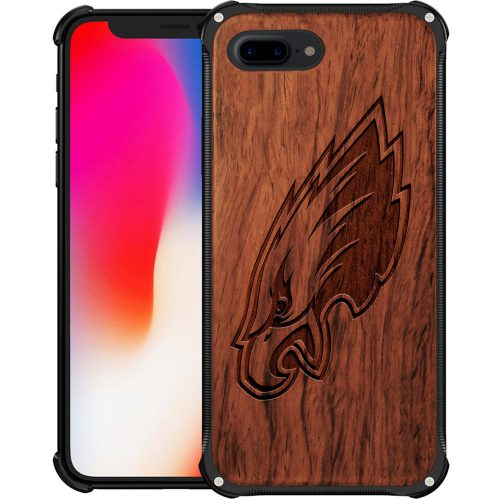 Philadelphia Eagles iPhone 8 Plus Case - Hybrid Metal and Wood Cover