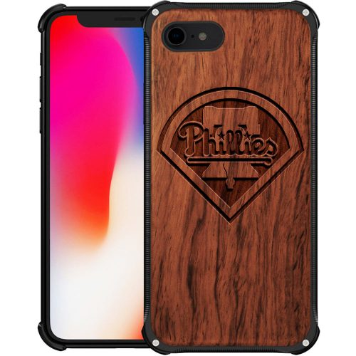 Philadelphia Phillies iPhone 8 Case - Hybrid Metal and Wood Cover