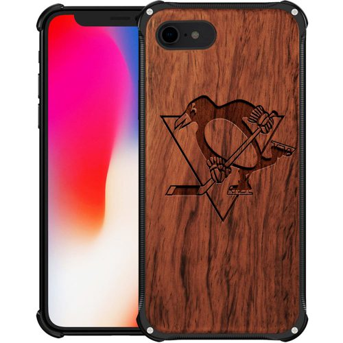Pittsburgh Penguins iPhone 8 Case - Hybrid Metal and Wood Cover