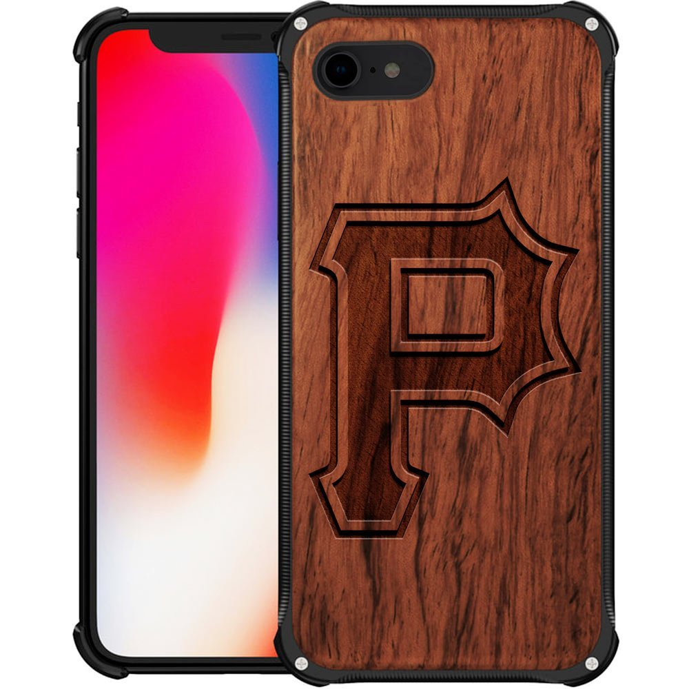 Pittsburgh Pirates iPhone 8 Case - Hybrid Metal and Wood Cover Classic