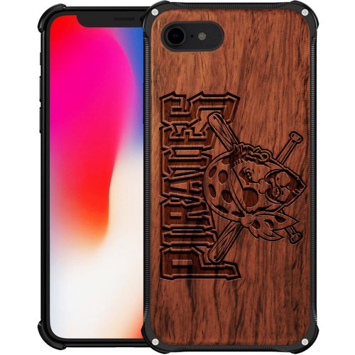 Pittsburgh Pirates iPhone 8 Case - Hybrid Metal and Wood Cover