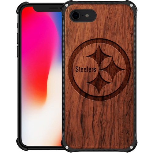 Pittsburgh Steelers iPhone 7 Case - Hybrid Metal and Wood Cover