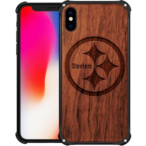 Pittsburgh Steelers iPhone X Case - Hybrid Metal and Wood Cover