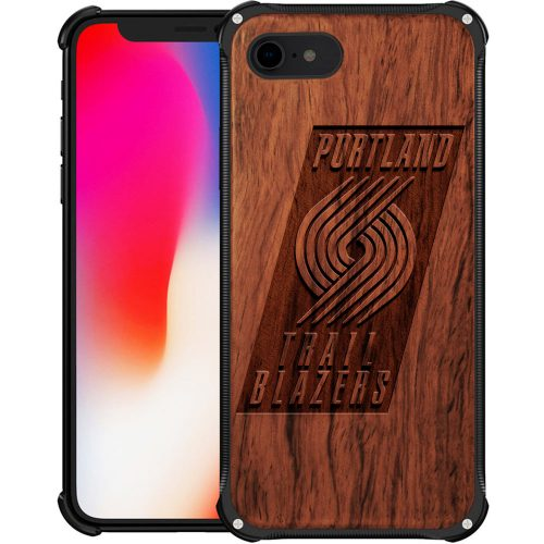 Portland Trail Blazers iPhone 7 Case - Hybrid Metal and Wood Cover