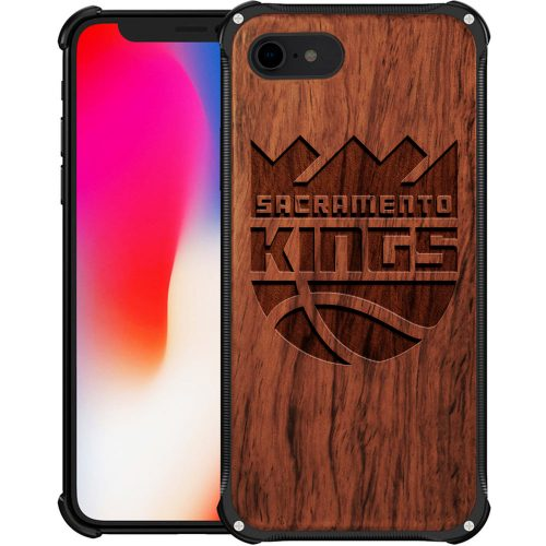 Sacramento Kings iPhone 7 Case - Hybrid Metal and Wood Cover