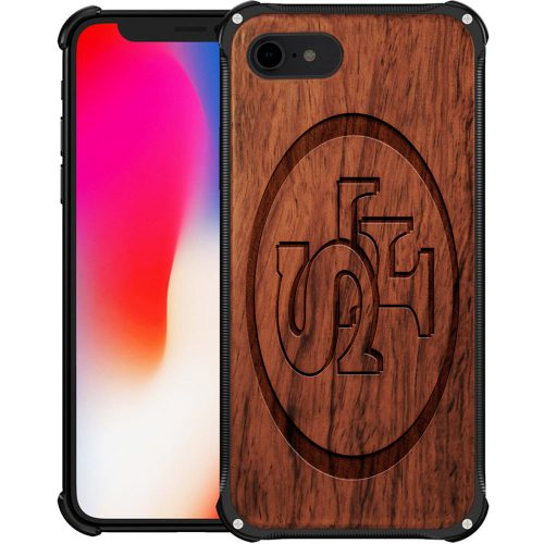 San Francisco 49ers iPhone 7 Case - Hybrid Metal and Wood Cover