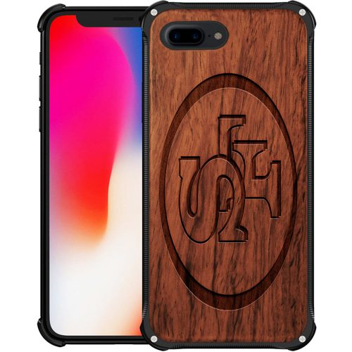 San Francisco 49ers iPhone 8 Plus Case - Hybrid Metal and Wood Cover