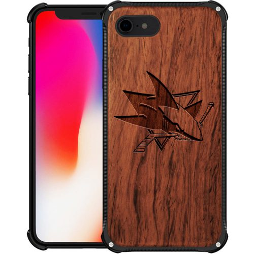 San Jose Sharks iPhone 7 Case - Hybrid Metal and Wood Cover
