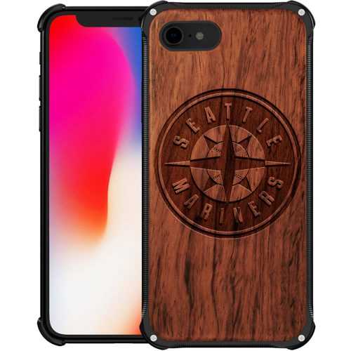 Seattle Mariners iPhone 8 Case - Hybrid Metal and Wood Cover
