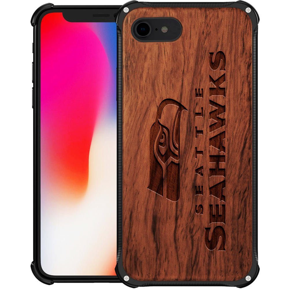 on sale 2fb58 9ee0f Seattle Seahawks iPhone 8 Case - Hybrid Metal and Wood Cover