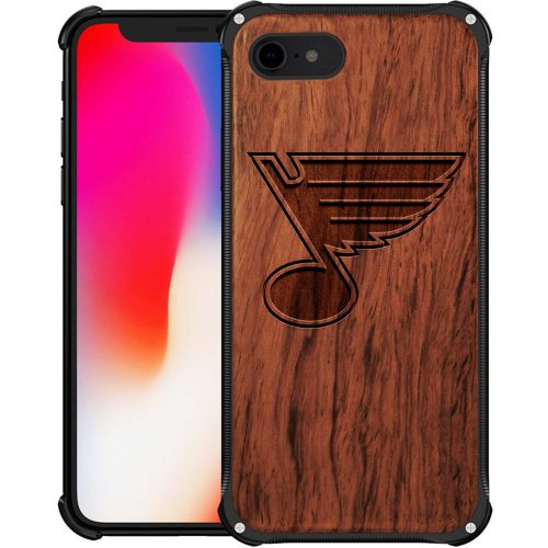 St Louis Blues iPhone 8 Case - Hybrid Metal and Wood Cover