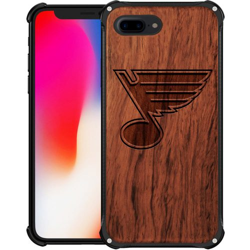 St Louis Blues iPhone 8 Plus Case - Hybrid Metal and Wood Cover