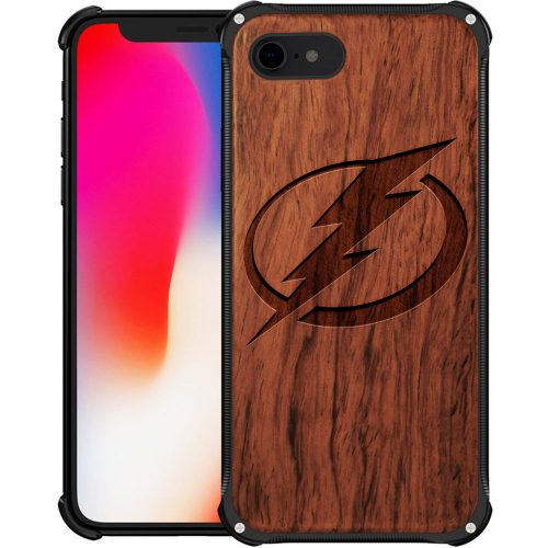 Tampa Bay Lightning iPhone 8 Case - Hybrid Metal and Wood Cover