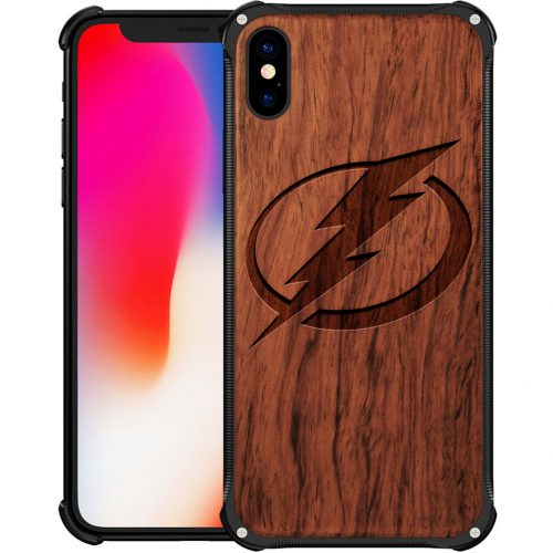 Tampa Bay Lightning iPhone XS Max Case - Hybrid Metal and Wood Cover