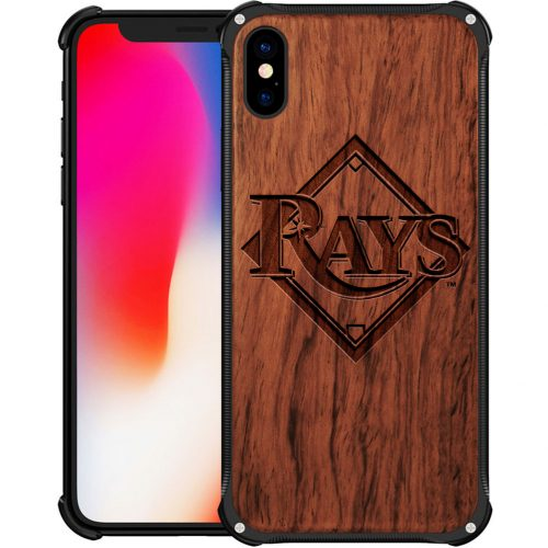 Tampa Bay Rays iPhone XS Max Case - Hybrid Metal and Wood Cover