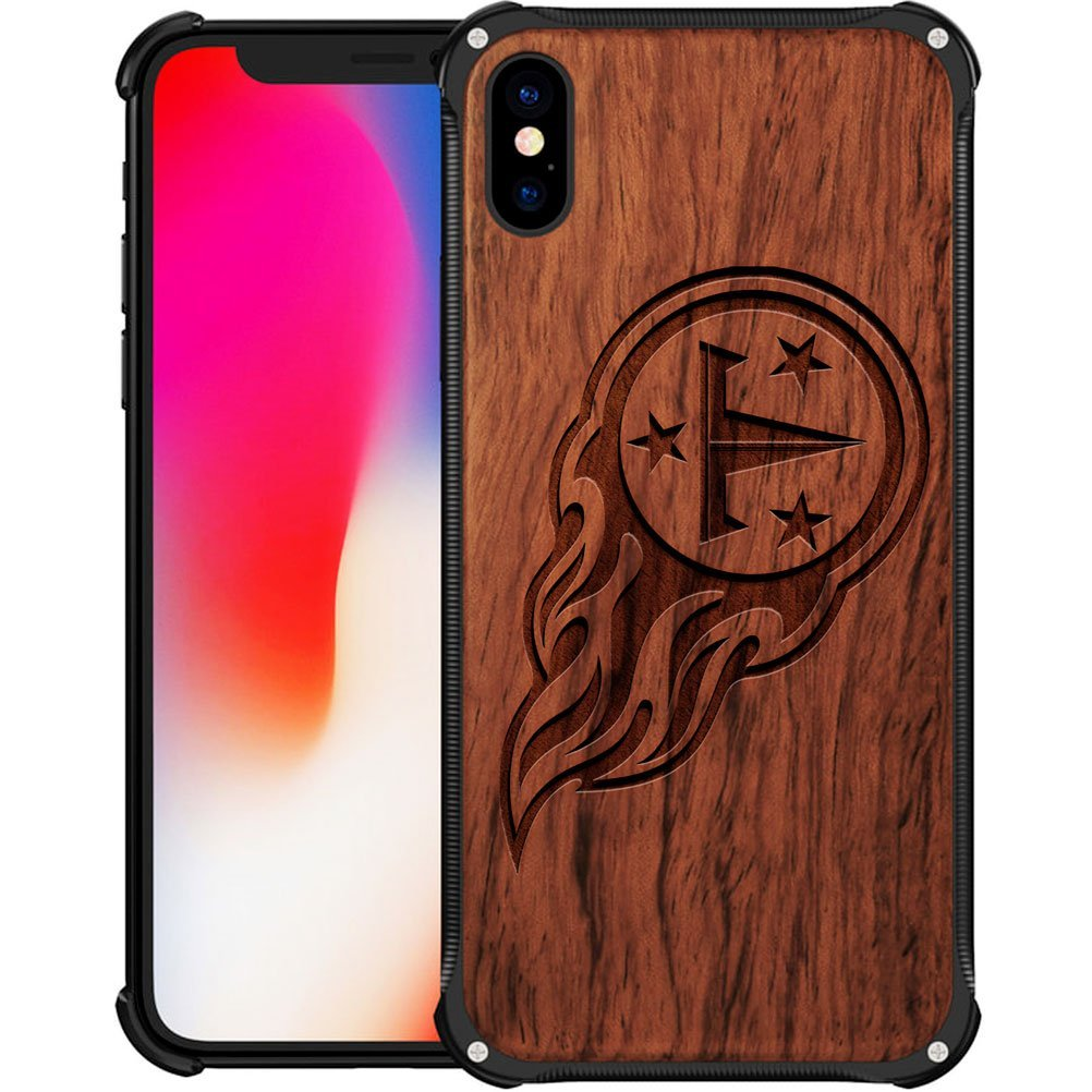 37030b64 Tennessee Titans iPhone X Case - Hybrid Metal and Wood Cover