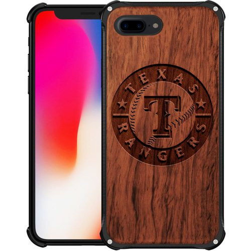 Texas Rangers iPhone 8 Plus Case - Hybrid Metal and Wood Cover