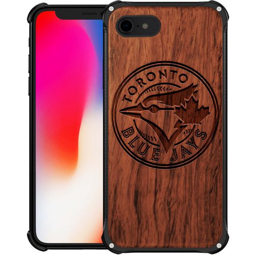 Toronto Blue Jays iPhone 8 Case - Hybrid Metal and Wood Cover