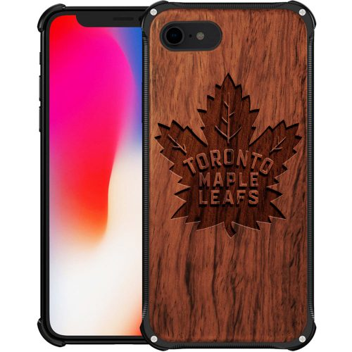 Toronto Maple Leafs iPhone 8 Case - Hybrid Metal and Wood Cover