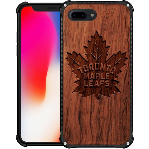 Toronto Maple Leafs iPhone 8 Plus Case - Hybrid Metal and Wood Cover