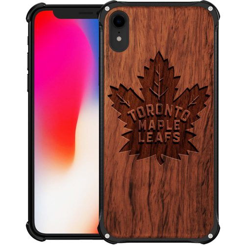 Toronto Maple Leafs iPhone XR Case - Hybrid Metal and Wood Cover