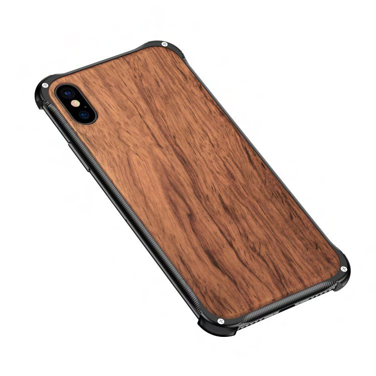 Wooden FC Barcelona iPhone X Case - Hybrid Metal and Wood Cover Lionel Messi Cover