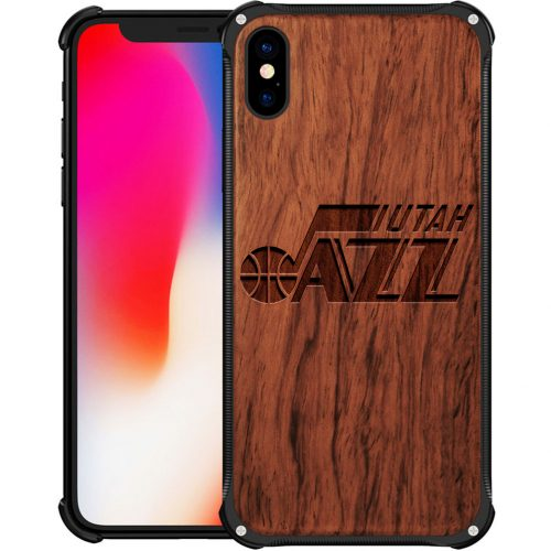 Utah Jazz iPhone X Case - Hybrid Metal and Wood Cover