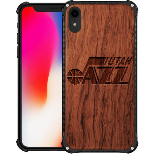 Utah Jazz iPhone XR Case - Hybrid Metal and Wood Cover