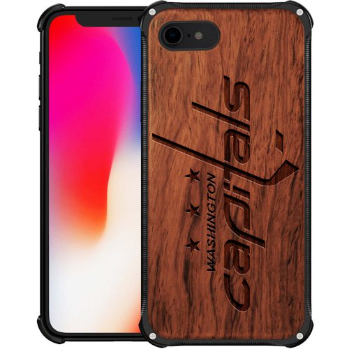 Washington Capitals iPhone 8 Case - Hybrid Metal and Wood Cover