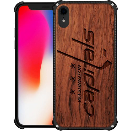 Washington Capitals iPhone XR Case - Hybrid Metal and Wood Cover