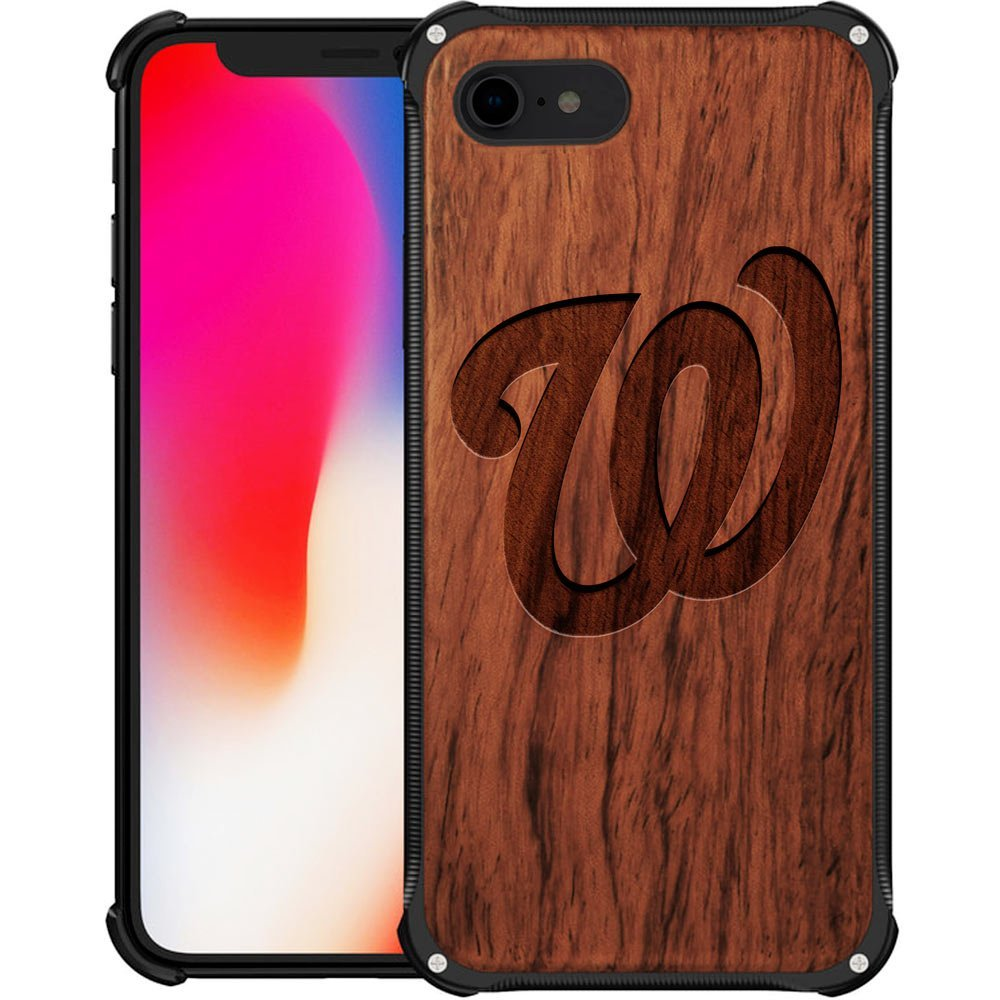 Washington Nationals iPhone 8 Case - Hybrid Metal and Wood Cover Classic