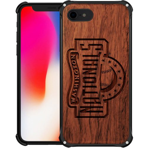 Washington Nationals iPhone 8 Case - Hybrid Metal and Wood Cover