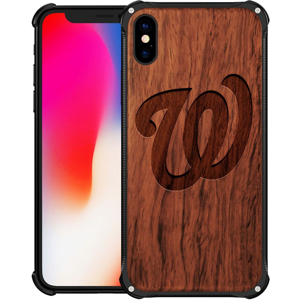 Washington Nationals iPhone X Case - Hybrid Metal and Wood Cover Classic