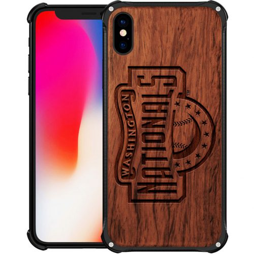 Washington Nationals iPhone X Case - Hybrid Metal and Wood Cover