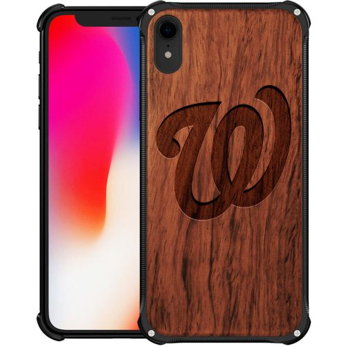 Washington Nationals iPhone XR Case - Hybrid Metal and Wood Cover Classic