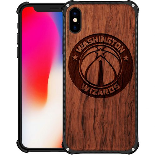 Washington Wizards iPhone X Case - Hybrid Metal and Wood Cover