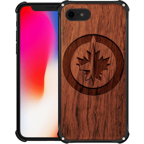 Winnipeg Jets iPhone 8 Case - Hybrid Metal and Wood Cover