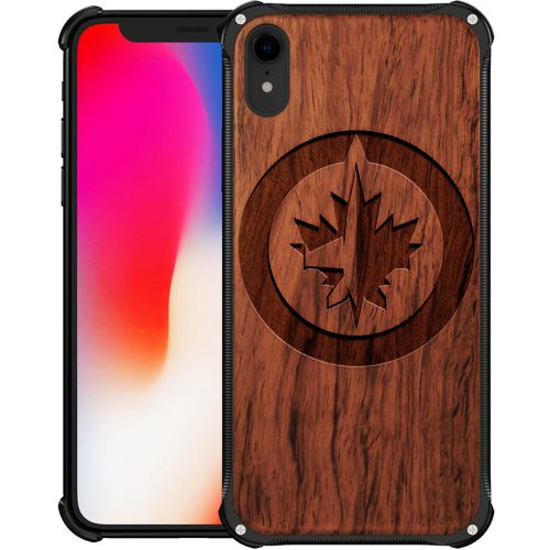 Winnipeg Jets iPhone XR Case - Hybrid Metal and Wood Cover