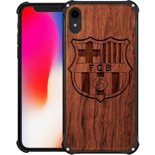 Wooden FC Barcelona iPhone XR Case - Hybrid Metal and Wood Cover Lionel Messi Cover