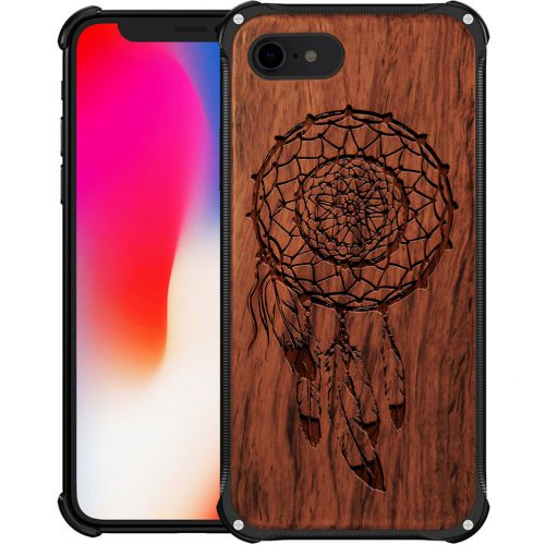 Wooden Dreamcatcher iPhone 7 Case - Hybrid Metal and Wood Cover Feathers Case - Hybrid Metal and Wood Cover
