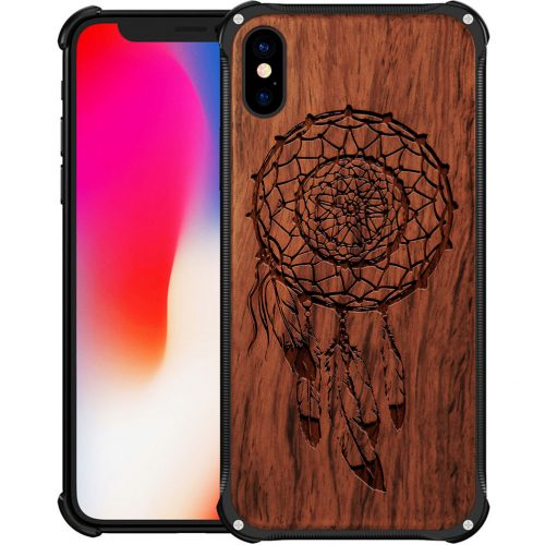 Wooden Dreamcatcher iPhone X Case - Hybrid Metal and Wood Cover Feathers Case - Hybrid Metal and Wood Cover