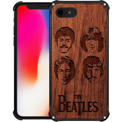 Wooden The Beatles iPhone 7 Case - Hybrid Metal and Wood Cover John Lennon Case - Hybrid Metal and Wood Cover
