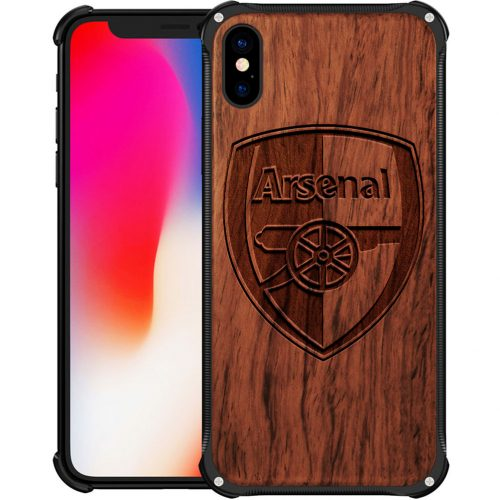 Arsenal FC iPhone X Max Case - Hybrid Wood And Metal iPhone X Max Cover
