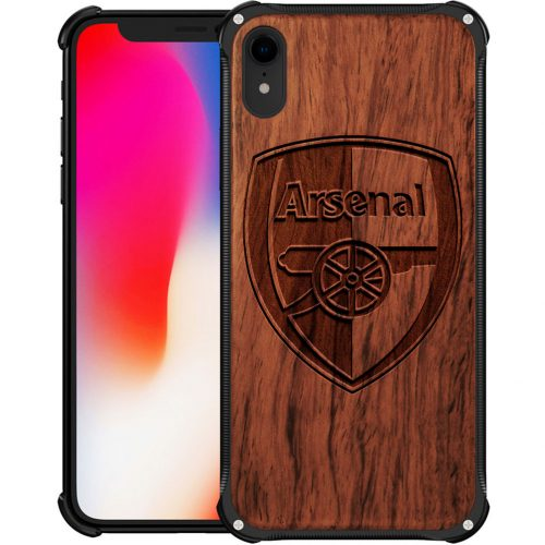 Arsenal FC iPhone XR Case - Hybrid Wood And Metal iPhone XR Cover