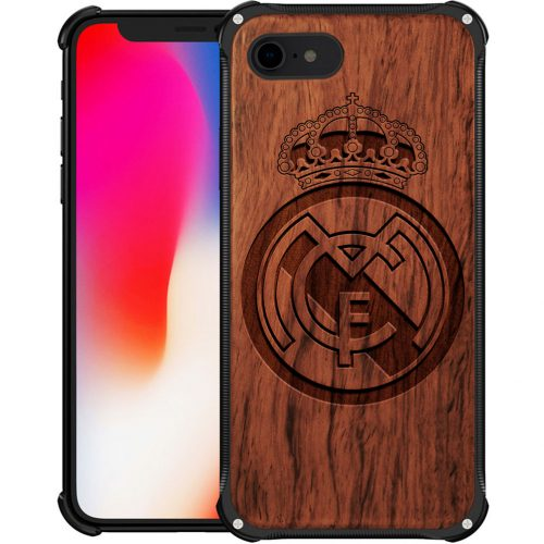 Real Madrid CF iPhone 7 Case - Hybrid Wood and Metal iPhone 7 Cover