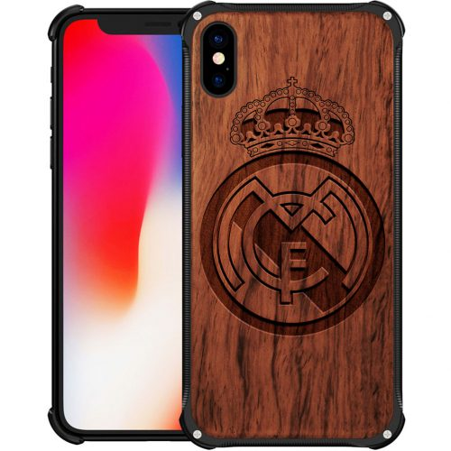 Real Madrid CF iPhone X Case - Hybrid Wood and Metal iPhone X Cover