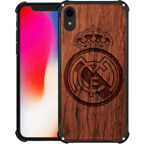 Real Madrid CF iPhone XR Case - Hybrid Wood and Metal iPhone XR Cover