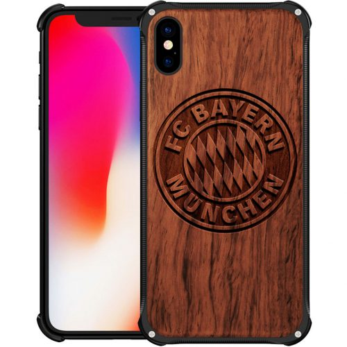 FC Bayern Munich iPhone X Case - Hybrid Wood And Metal iPhone X Cover