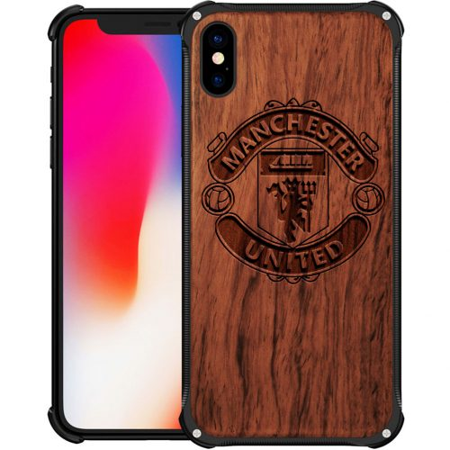 Manchester United FC iPhone X Case - Hybrid Wood And Metal iPhone X Cover