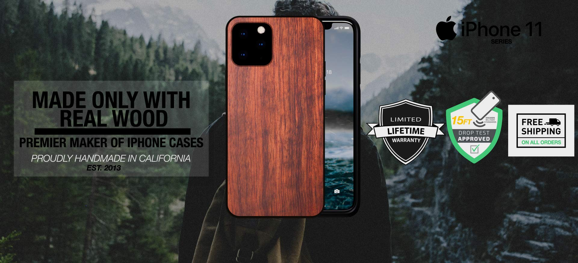 iPhone 11 Wood Cases - iPhone 11 Pro Wooden Case Cover with Natural Real Mahogany/Wood Material and Unique Design Handmade Carved iPhone 11 Max Pro